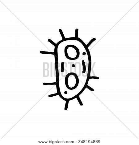 Virus, bacteria cartoon hand drawn doodle vector illustration, icon, sticker. Black line art design. Isolated on white background. Easy to change color. Medicine, health care, protection, medical care stock photo