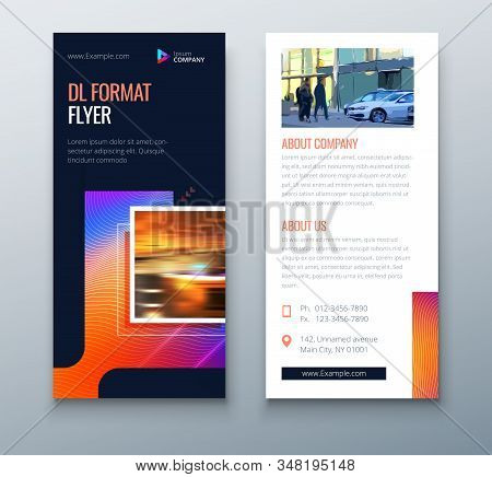 Dark DL Flyer design with square shapes, corporate business template for dl flyer. Creative concept flyer or banner layout. Set - GB075. stock photo