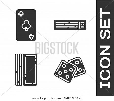 Set Game dice, Playing card with clubs symbol, Deck of playing cards and Deck of playing cards icon. Vector stock photo