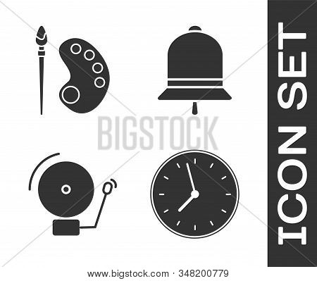 Set Clock, Paint brush with palette, Ringing alarm bell and Ringing bell icon. Vector stock photo