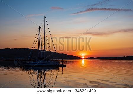 Sunset in the city Fjaellbacka in Sweden. stock photo