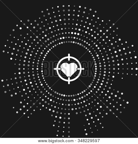 White Heart in the center of darts target aim icon isolated on grey background. Valentines day. Abstract circle random dots. Vector Illustration stock photo