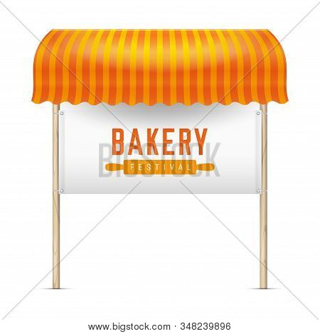 Bakery festival announcement board. Vector illustration. Rolling pin icon. Orange striped awning and banner with grommets tied to wooden posts. Bakery emblem. stock photo