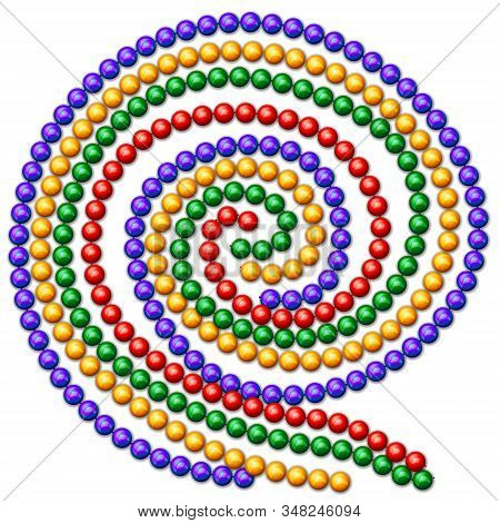 Necklace beads carnival festival set multicolored on white background. EPS10 contains brushes and styles for the image of beads. stock photo