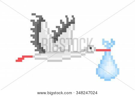 Flying stork carrying a baby, pixel art icon isolated on white background. 8 bit birthday symbol. Old school vintage retro slot machine/video game graphics. It's a boy/girl, newborn card print. stock photo