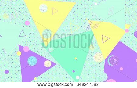 90s design. Geometric shapes background. Memphis pattern. Vector Illustration. Hipster style 80s-90s. Abstract colorful funky background. stock photo
