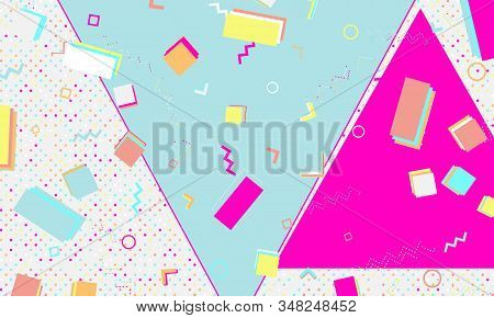 80s background. Abstract dots. Memphis pattern. Vector Illustration. Hipster style 80s-90s pattern. Abstract colorful funky background. stock photo