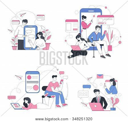 Online chatting outline vector concept illustrations. Social media modern communication, internet forum, messaging and sharing. People typing messages, networking lineart characters set stock photo
