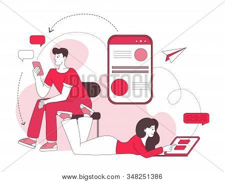 Couple chatting linear vector illustration. Social media messaging, internet forum, online communication red lineart concept. Woman and man using laptop, smartphone, typing messages characters stock photo