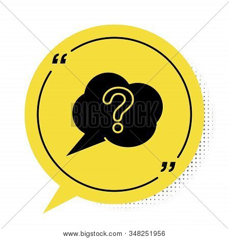 Black Speech bubble and Question icon isolated on white background. FAQ sign. Copy files, chat speech bubble and chart. Yellow speech bubble symbol. Vector Illustration stock photo