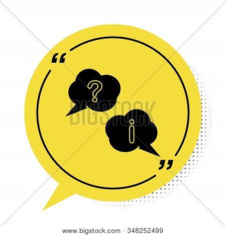 Black Speech bubbles with Question and Exclamation icon isolated on white background. FAQ sign. Copy files, chat speech bubble and chart. Yellow speech bubble symbol. Vector Illustration stock photo