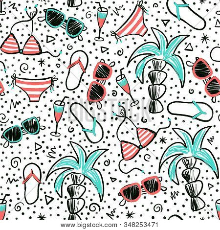 Seamless summer doodle pattern. Hand drawn cartoon style background with palm trees, sunglasses, bikini, flip flops, cocktail. Use for fabric, surface pattern design, beach wear stock photo