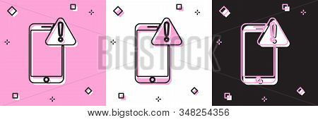 Set Mobile phone with exclamation mark icon isolated on pink and white, black background. Alert message smartphone notification. Vector Illustration stock photo