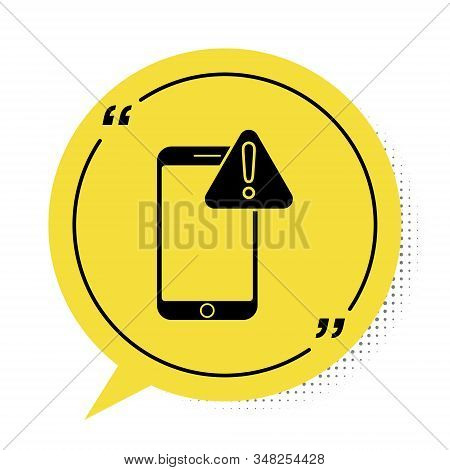 Black Mobile phone with exclamation mark icon isolated on white background. Alert message smartphone notification. Yellow speech bubble symbol. Vector Illustration stock photo