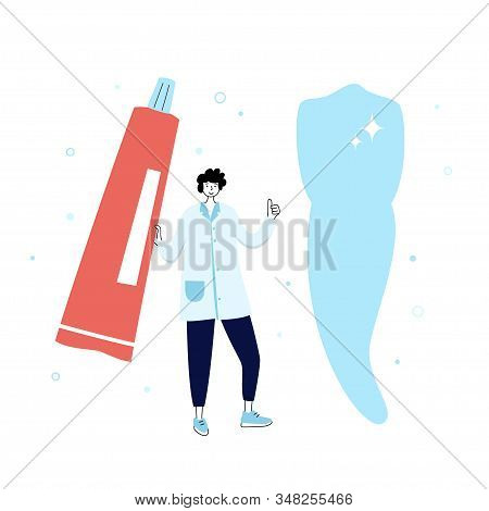 Vector isolated illustration of tooth and doctor holding toothpaste. Concept of tooth cleaning, care and protection from tooth decay. Teeth icon. Medical banner or poster illustration. Oral Health stock photo