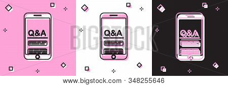 Set Mobile phone with Question and Exclamation icon isolated on pink and white, black background. Frequently asked questions. Vector Illustration stock photo