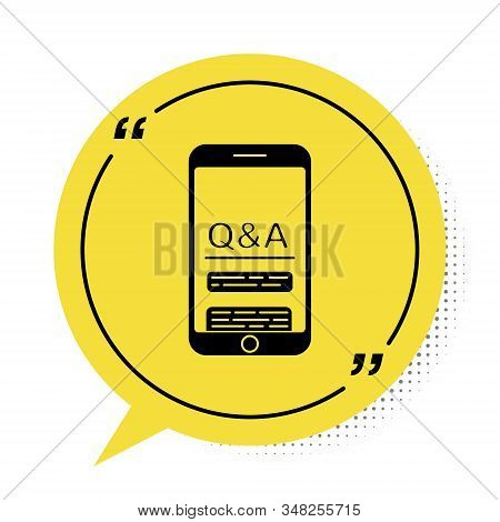 Black Mobile phone with Question and Exclamation icon isolated on white background. Frequently asked questions. Yellow speech bubble symbol. Vector Illustration stock photo