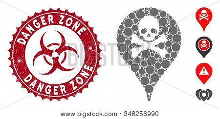 Mosaic danger zone map marker icon and grunge stamp watermark with Danger Zone text and biohazard symbol. Mosaic vector is designed from danger zone map marker icon and with scattered circle items. stock photo