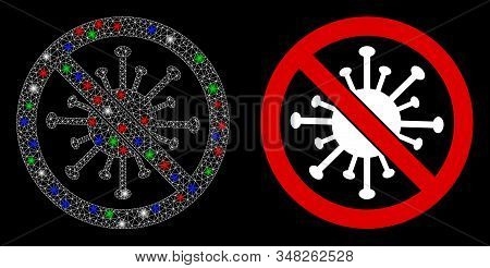 Glossy white mesh stop coronavirus with sparkle effect. Abstract illuminated model of stop coronavirus. Shiny wire frame triangular mesh stop coronavirus icon on a black background. stock photo