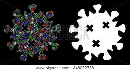 Flare white mesh infection virus with glitter effect. Abstract illuminated model of infection virus. Shiny wire carcass polygonal network infection virus icon on a black background. stock photo