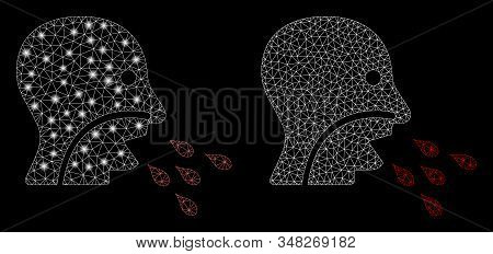 Glossy mesh patient infection with glitter effect. Abstract illuminated model of patient infection icon. Shiny wire frame triangular mesh patient infection icon. stock photo