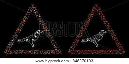 Flare mesh bird warning with glare effect. Abstract illuminated model of bird warning icon. Shiny wire frame polygonal mesh bird warning icon. Vector abstraction on a black background. stock photo