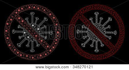 Glowing mesh stop coronavirus with glare effect. Abstract illuminated model of stop coronavirus icon. Shiny wire frame polygonal mesh stop coronavirus icon. Vector abstraction on a black background. stock photo