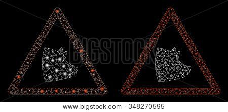 Flare mesh pork warning with glitter effect. Abstract illuminated model of pork warning icon. Shiny wire frame polygonal mesh pork warning icon. Vector abstraction on a black background. stock photo