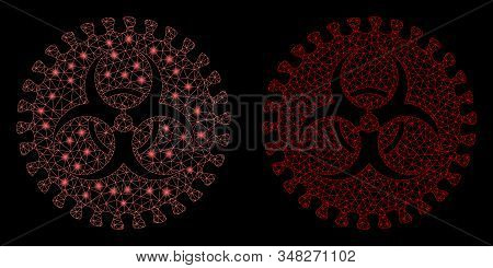 Bright mesh virus hazard with sparkle effect. Abstract illuminated model of virus hazard icon. Shiny wire frame triangular mesh virus hazard icon. Vector abstraction on a black background. stock photo