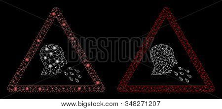Glossy mesh infected patient warning with sparkle effect. Abstract illuminated model of infected patient warning icon. Shiny wire frame triangular mesh infected patient warning icon. stock photo