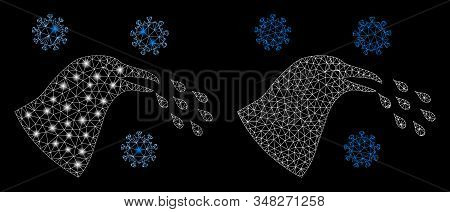 Glowing mesh bird flu infection with lightspot effect. Abstract illuminated model of bird flu infection icon. Shiny wire frame polygonal mesh bird flu infection icon. stock photo