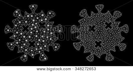 Glossy mesh infection virus with sparkle effect. Abstract illuminated model of infection virus icon. Shiny wire frame triangular mesh infection virus icon. Vector abstraction on a black background. stock photo