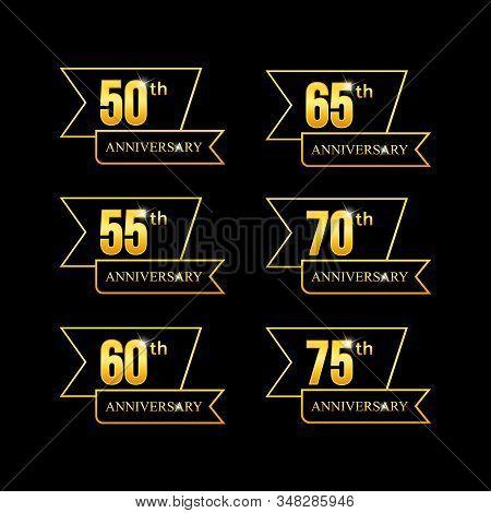 Set of anniversary logotype golden anniversary vector image. Collection of anniversary typography logotype vector stock photo