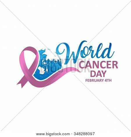 World Cancer Day. Calligraphy Poster Design. Realistic Lavender Ribbon. February 4 th is Cancer Awareness Day. Vector stock photo