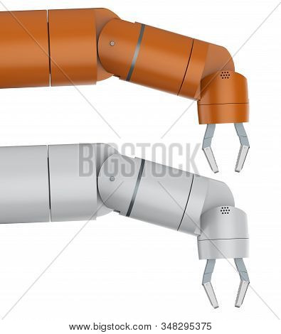 3d rendering robotic arm or robot hand finger point isolated on white stock photo