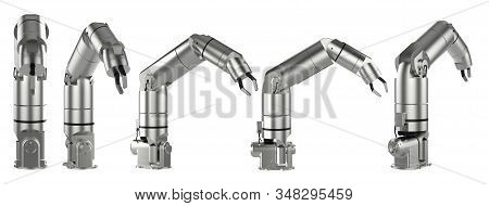 3d rendering x-ray robotic arm or robot hand isolated on black stock photo