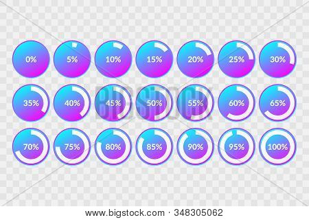 Percentage vector infographic icons set on transparent background. 5 10 15 20 25 30 35 40 45 50 55 60 65 70 75 80 85 90 95 100 0 percent  isolated pie charts for business, web, design, downloading, progress stock photo
