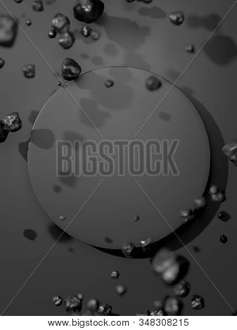 Round Black Blank Banner Near Black Bubbles Isolated On Black Background. 3d Rendering. stock photo