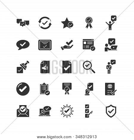 Approve icon set in flat style. Check mark vector illustration on white isolated background. Tick accepted business concept. stock photo