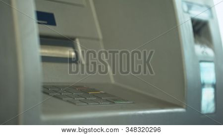Automated teller machine close up, buttons on ATM, secure money withdrawing stock photo