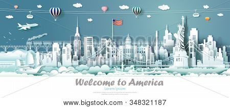 Travel panorama view landmarks United States of America famous monument architecture skyline, Tour landmark to golden gate bridge and statue of liberty, Traveling architecture sculpture world, Vector. stock photo