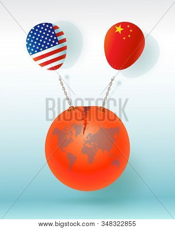 America and China trade war business, The world leader and the symbol of America and China business conflicts on blue background that affects our world for business concepts, vector illustrations 3d. stock photo