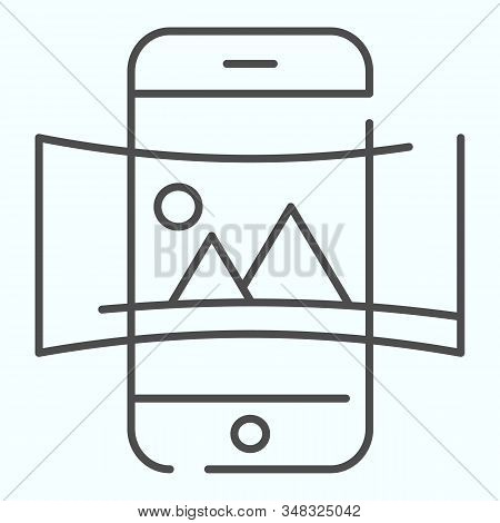 Panorama thin line icon. Picture panorama in smartphone vector illustration isolated on white. Nature panorama photo with picture outline style design, designed for web and app. Eps 10. stock photo