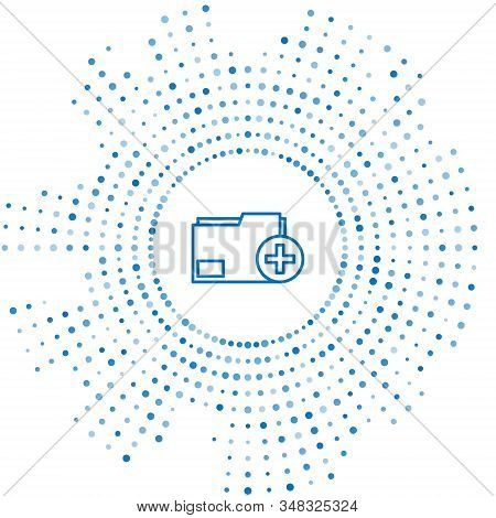 Blue line Add new folder icon isolated on white background. New folder file. Copy document icon. Add attach create folder make new plus. Abstract circle random dots. Vector Illustration stock photo