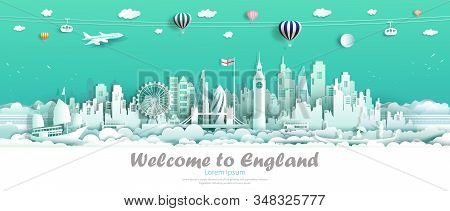 Travel london england famous landmarks Europe downtown country of island,Tour city architecture downtown to london with origami paper cut cute for travel business landmark england. Vector illustration stock photo
