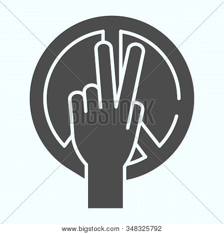 Peace symbol and peace hand solid icon. Peace symbol and a hand with two fingers up vector illustration isolated on white. International day of peace symbols glyph style design, designed for web and app. Eps 10. stock photo