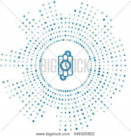 Blue line Detonate dynamite bomb stick and timer clock icon isolated on white background. Time bomb - explosion danger concept. Abstract circle random dots. Vector Illustration stock photo