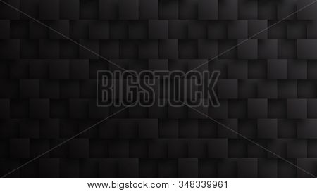 Conceptual Dark 3D Square Blocks Technological Minimalist Black Abstract Background. Science Technology Tetragonal Particles Structure Darkness Wallpaper. Render Three Dimensional Tech Blank Backdrop stock photo