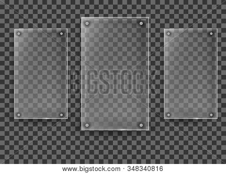 Glass plates are installed. Glass banners set on transparent background. Glass. Glass frames stock photo