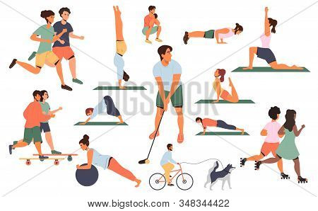 Large collection of colored sports poses or activities with men and women running, doing assorted exercises in a gym, skateboarding, pilates, yoga, golf, jogging, vector illustrations on white stock photo